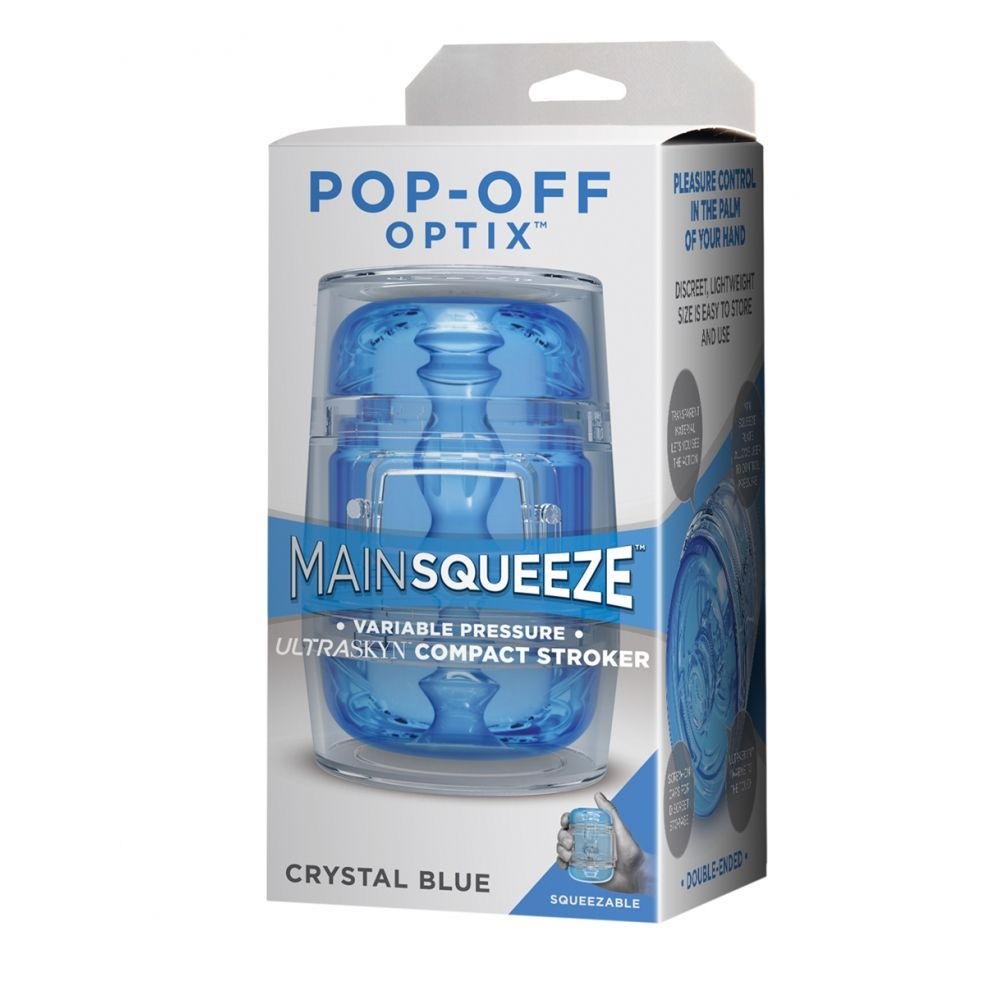 Masturbateur Mini Main Squeeze POP-OFF Optix Crystal Bleu