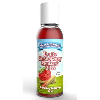 Huile de Massage Chauffante Gourmande Fraise & Rhubarbe 50 ml