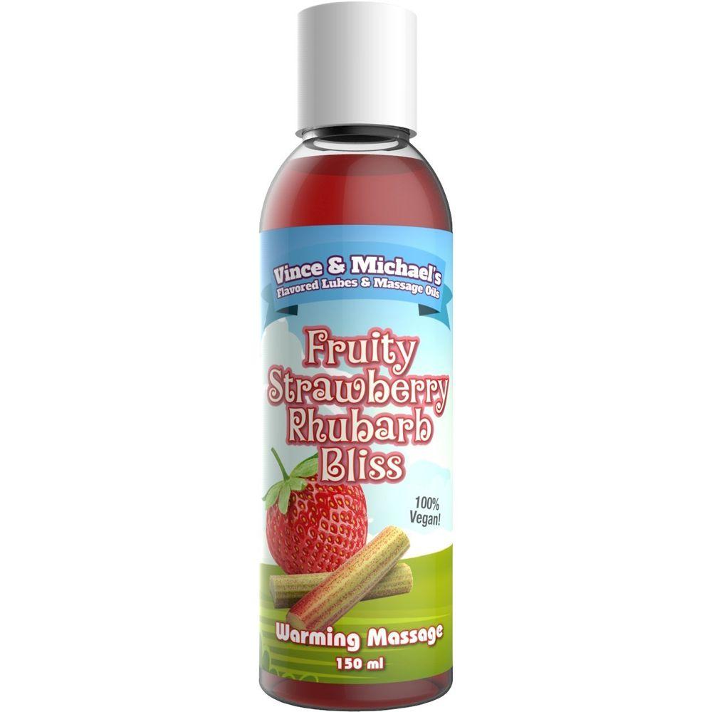 Huile de Massage Chauffante Gourmande Fraise & Rhubarbe 150 ml