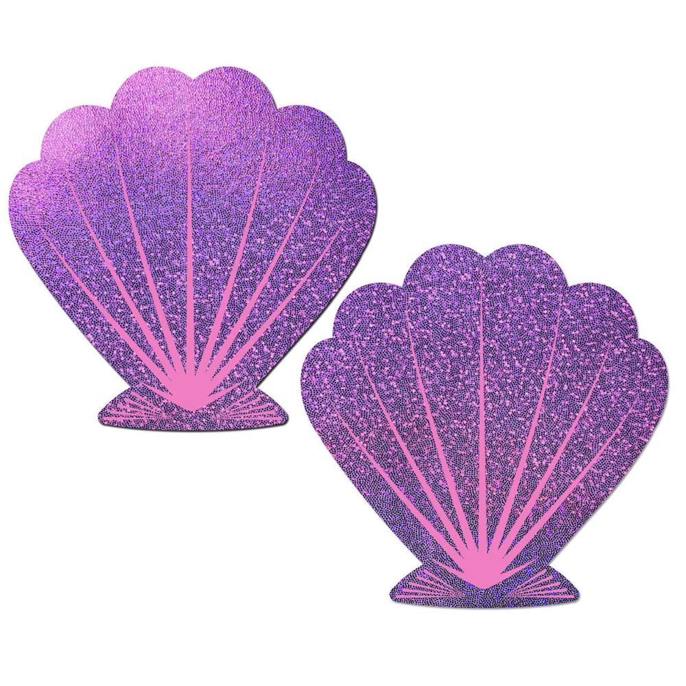 Caches-Seins Glitter Coquillage Lilas et Rose