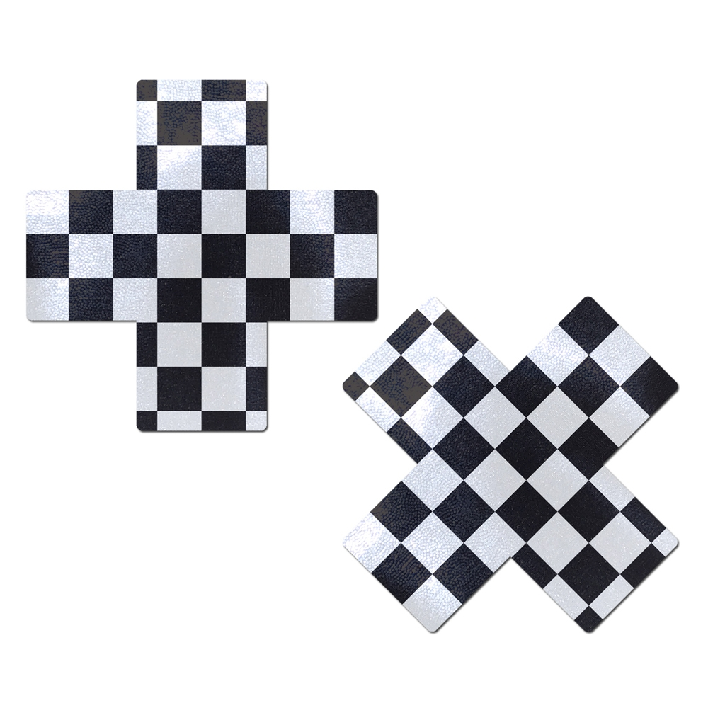 Caches-Seins Croix Damier Noir & Blanc