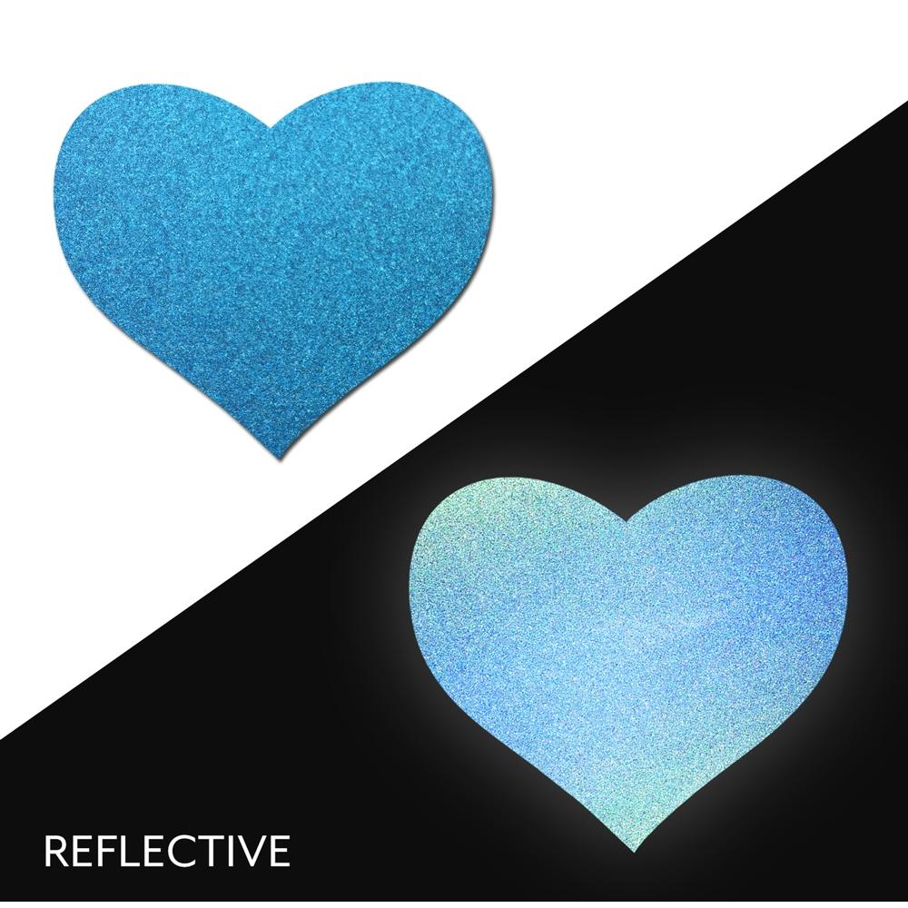 Caches-Seins Réfléchissant Cœur Bleu