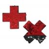 Caches-Seins Croix Sequins Réversibles Rouge et Noir