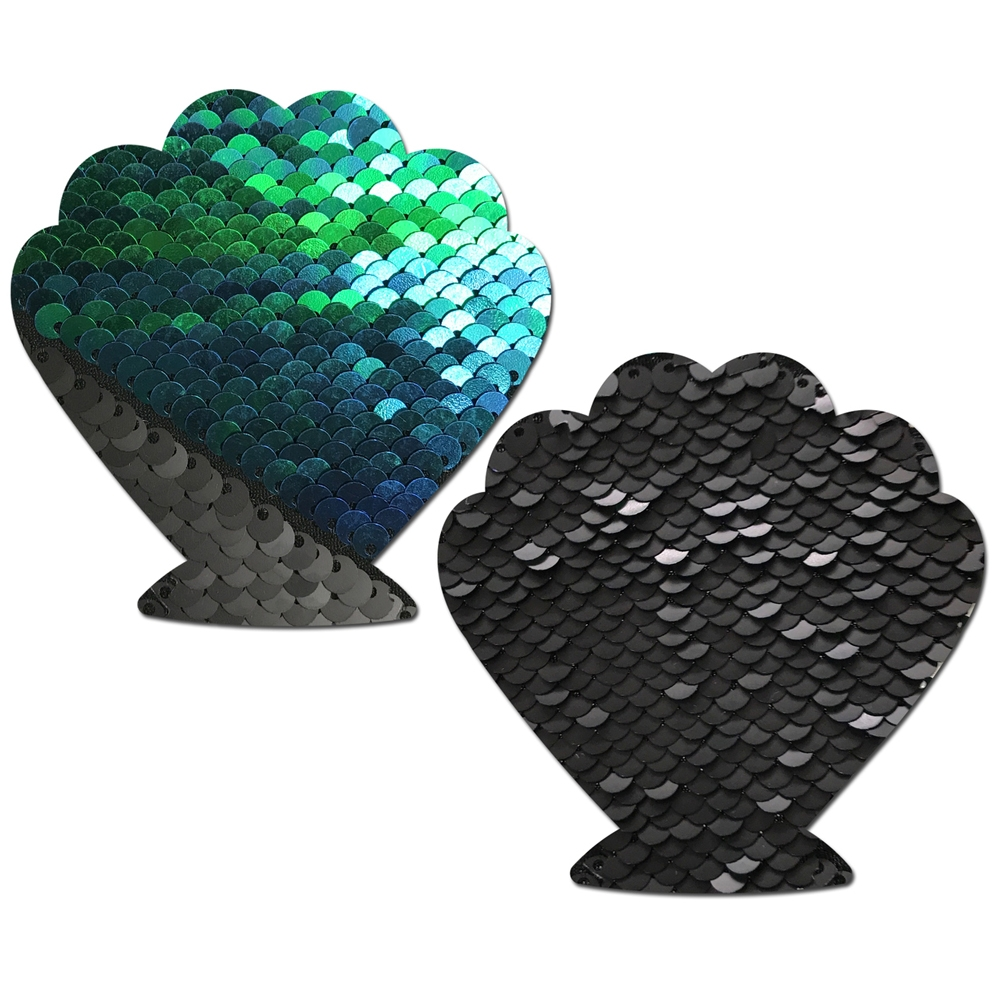 Caches-Seins Coquillage Sequins Réversibles Opale et Noir