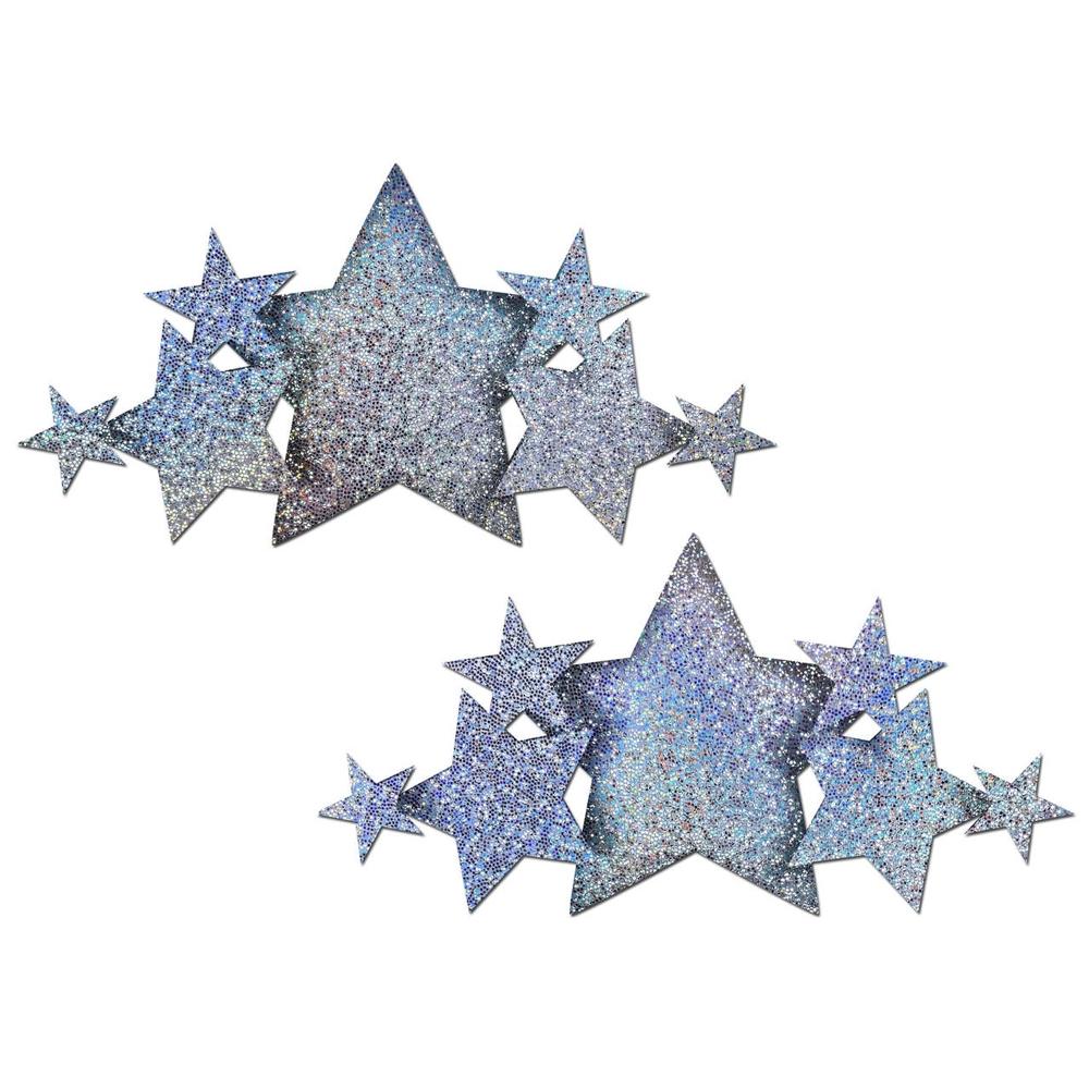 Autocollants Demi Set Glitter Étoile Argentée