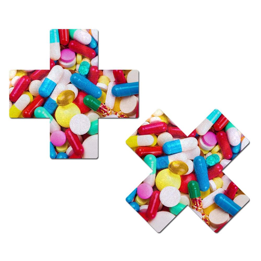 Caches-Seins Croix Pilules Multicolores