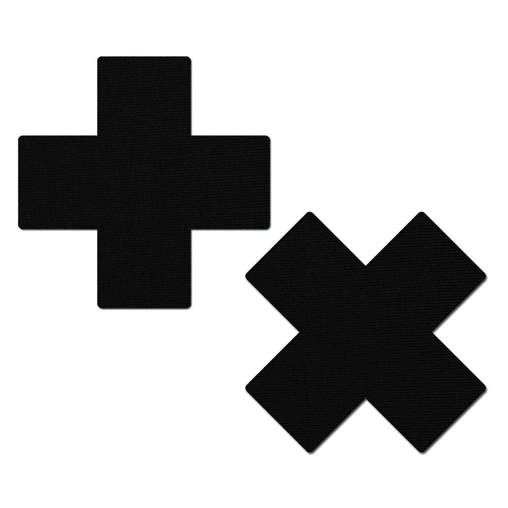 Caches-Seins Croix Noir Mat