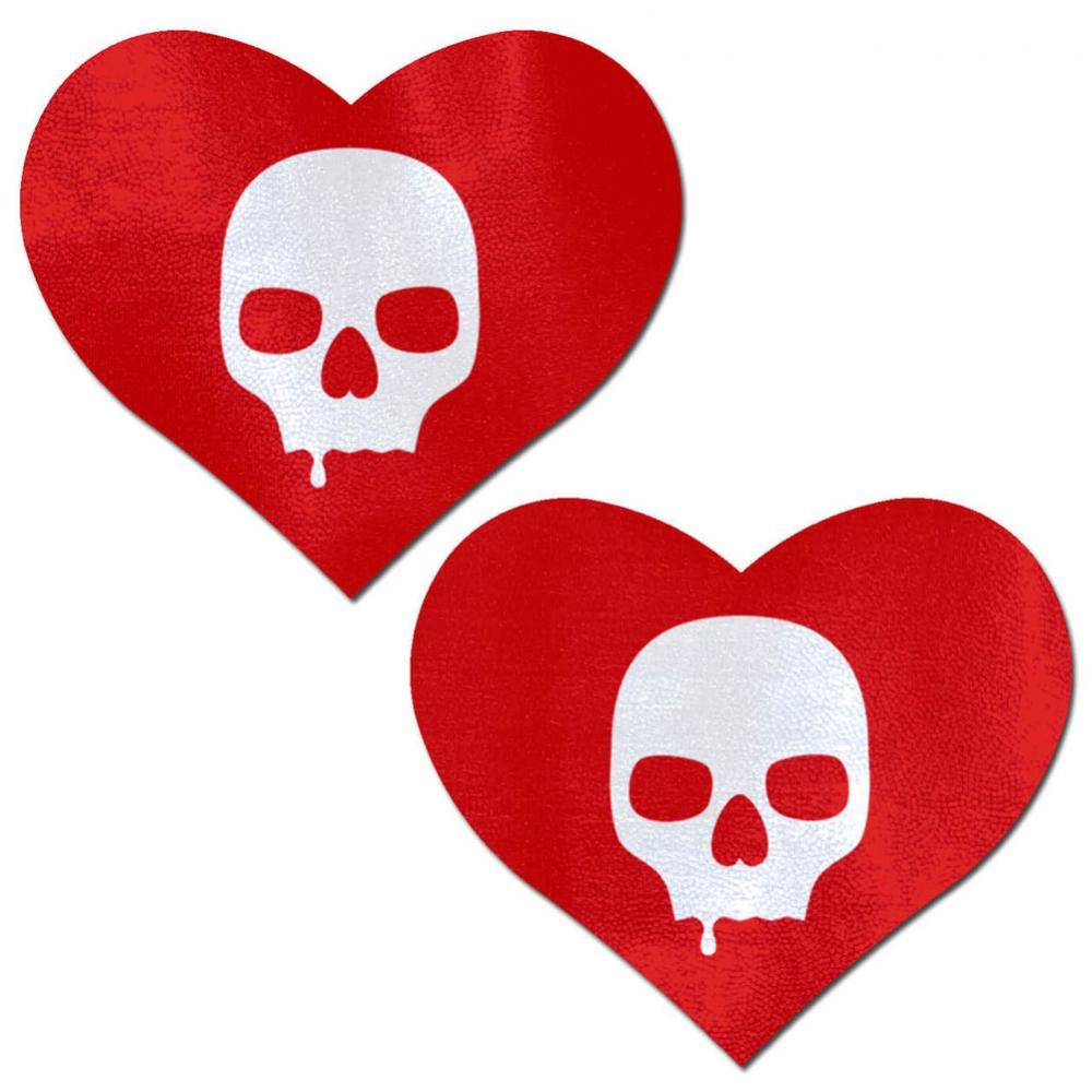 Caches-Seins Coeur Rouge avec Tête de Mort