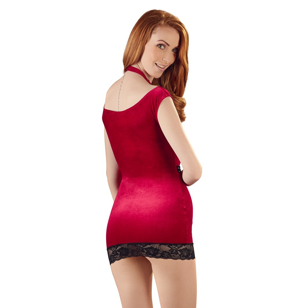 Robe Mini Velours Rouge