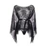 Robe en Dentelle Drapée Noir