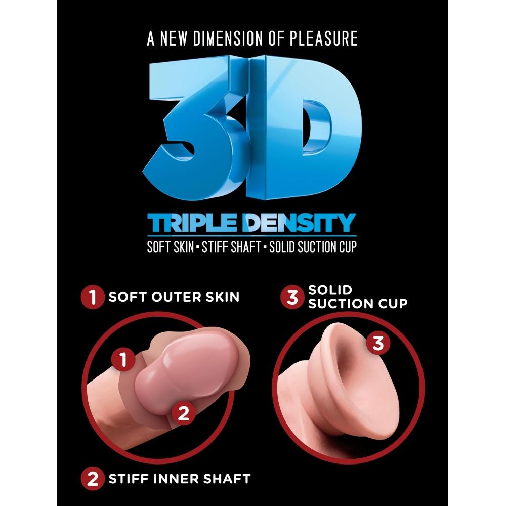 Dildo avec Testicules 25,4 cm Fat Triple Density King Cock Plus 3D