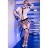 Costume Étudiante Résille CR4364 Blanc & Rouge