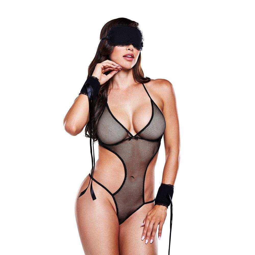 Monokini Noir Avec Masque Menottes et Rubans