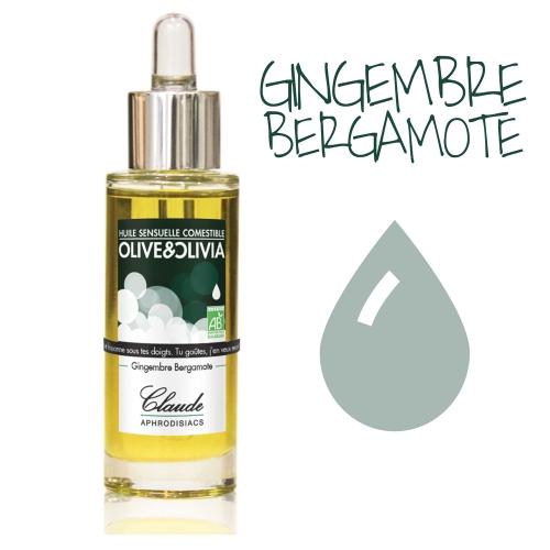Huile d'Olive de Massage Olive&Olivia Gingembre Bergamote