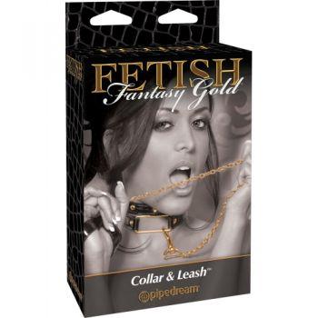 Collier et Laisse Collar & Leash Fetish Fantasy Gold