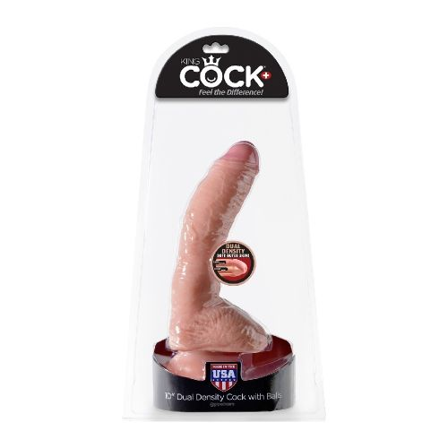 Dildo Courbé avec Testicules 25,4 cm Dual Density King Cock +