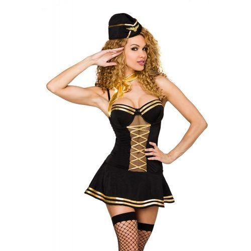 Costume Hôtesse de l'Air Noir et Or