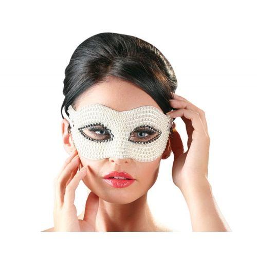 Masque Vénitien Perles Blanches