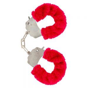 Menottes en fourrure rouges